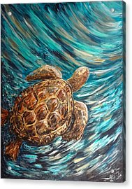 Sea Turtle Wave Guam Acrylic Print