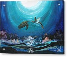 Sea Turtles Greeting Acrylic Print