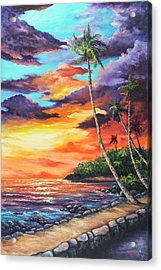 Acrylic Print featuring the painting Sea Wall Lahaina by Darice Machel McGuire
