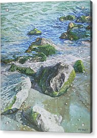 Acrylic Print featuring the painting Sea Water With Rocks On Shore by Martin Davey