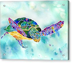 Acrylic Print featuring the painting Sea Weed Sea Turtle  by Jo Lynch