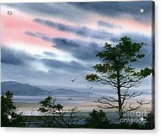 Seacoast Winter Sunset Acrylic Print by James Williamson