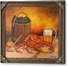 Acrylic Print featuring the painting Seafood Night by Susan Dehlinger