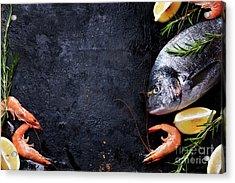 Seafood On Black Background Acrylic Print