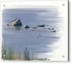 Acrylic Print featuring the painting Gull Siesta by Ivana Westin