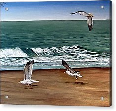Acrylic Print featuring the painting Seagulls 2 by Natalia Tejera