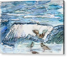 Seagulls In The Surf Acrylic Print by Arline Wagner