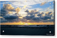 Seagulls On The Beach At Sunrise Acrylic Print