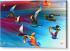 Seagulls Acrylic Print by Jacky Gerritsen