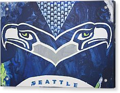 Acrylic Print featuring the painting Seahawks Helmet by Candace Shrope