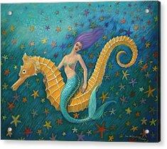 Seahorse Mermaid Acrylic Print by Sue Halstenberg