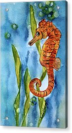 Seahorse With Sea Grass Acrylic Print