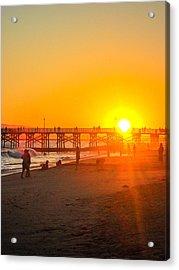 Seal Beach Pier Sunset Acrylic Print by Mark Barclay