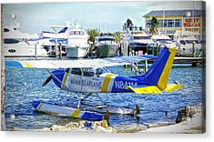 Seaplane, Boats And The Morning Sun Acrylic Print