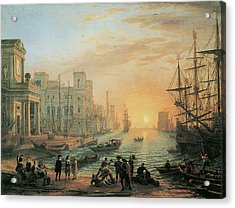 Seaport At Sunset Acrylic Print by Claude Lorrain