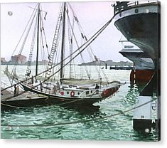 Acrylic Print featuring the painting Seaport New York by Sergey Zhiboedov