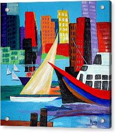 Seaport Acrylic Print by Susan Kubes