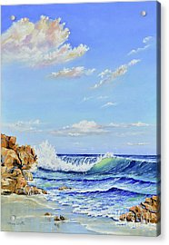 Acrylic Print featuring the painting Seascape Beach by Mary Scott