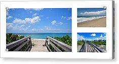 Seascape  Boardwalks Treasure Coast Florida Collage 1 Acrylic Print