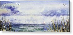 Seascape Elongated Painting With Sailboat Acrylic Print