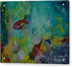 Acrylic Print featuring the painting Seascape by Karen Fleschler