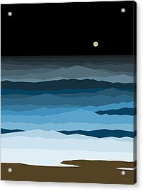 Seascape - Night Acrylic Print by Val Arie