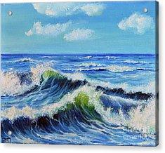 Acrylic Print featuring the painting Seascape No.3 by Teresa Wegrzyn