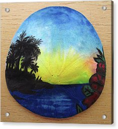 Seascape On A Sand Dollar Acrylic Print by Mary Ellen Frazee