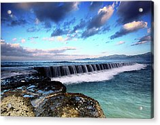 Seascape Paintings For Sale - Falling Oceans Acrylic Print by Frances Leigh