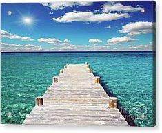 Seascape Sunrise Treasure Coast Florida Pier C6 Acrylic Print