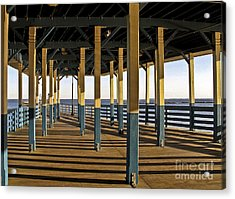 Seascape Walk On The Pier Acrylic Print by Carol F Austin