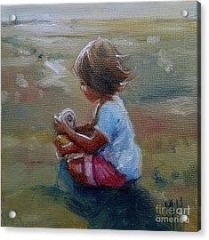 Seashell Contemplation Little Girl Beach Shell Acrylic Print