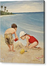 Seashell Sand And A Solo Cup Acrylic Print