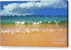 Seashore Abstract By Kaye Menner Acrylic Print by Kaye Menner