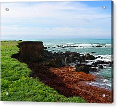 Acrylic Print featuring the digital art Seaside Bluff by Timothy Bulone