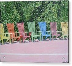 Seaside Chairs Acrylic Print by John Terry
