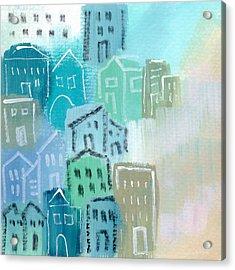 Seaside City- Art By Linda Woods Acrylic Print