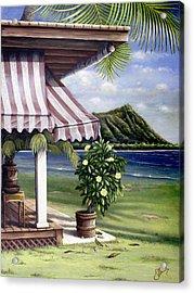 Seaside Hotel Acrylic Print by Sandra Blazel - Printscapes