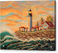 Seaside Lighthouse Acrylic Print by Mary Charles