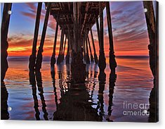 Seaside Reflections Under The Imperial Beach Pier Acrylic Print