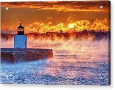 Seasmoke At Salem Lighthouse Acrylic Print by Jeff Folger