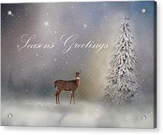 Seasons Greetings With Deer Acrylic Print by Ann Bridges