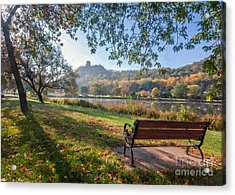 Seat With A View Oil Painting Style Acrylic Print