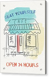 Seat Yourself Cafe- Art By Linda Woods Acrylic Print by Linda Woods