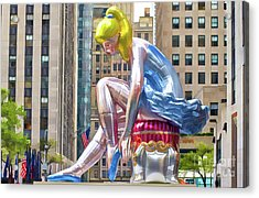 Seated Ballerina At Rockefeller Center 1 Acrylic Print