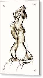Seated Female Nude Acrylic Print by Roz McQuillan