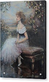 Seated Lady And Flowers Acrylic Print by Caroline Anne Du Toit