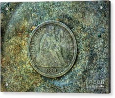 Acrylic Print featuring the digital art Seated Libery Dime Coin Obverse by Randy Steele