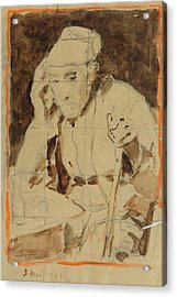 Seated Man With A Stick Acrylic Print by MotionAge Designs