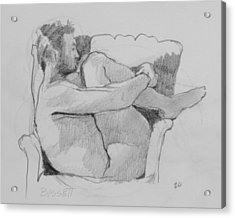 Seated Nude 1 Acrylic Print by Robert Bissett